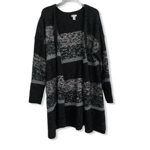 Chico's gray, black, and silver cardigan size 3